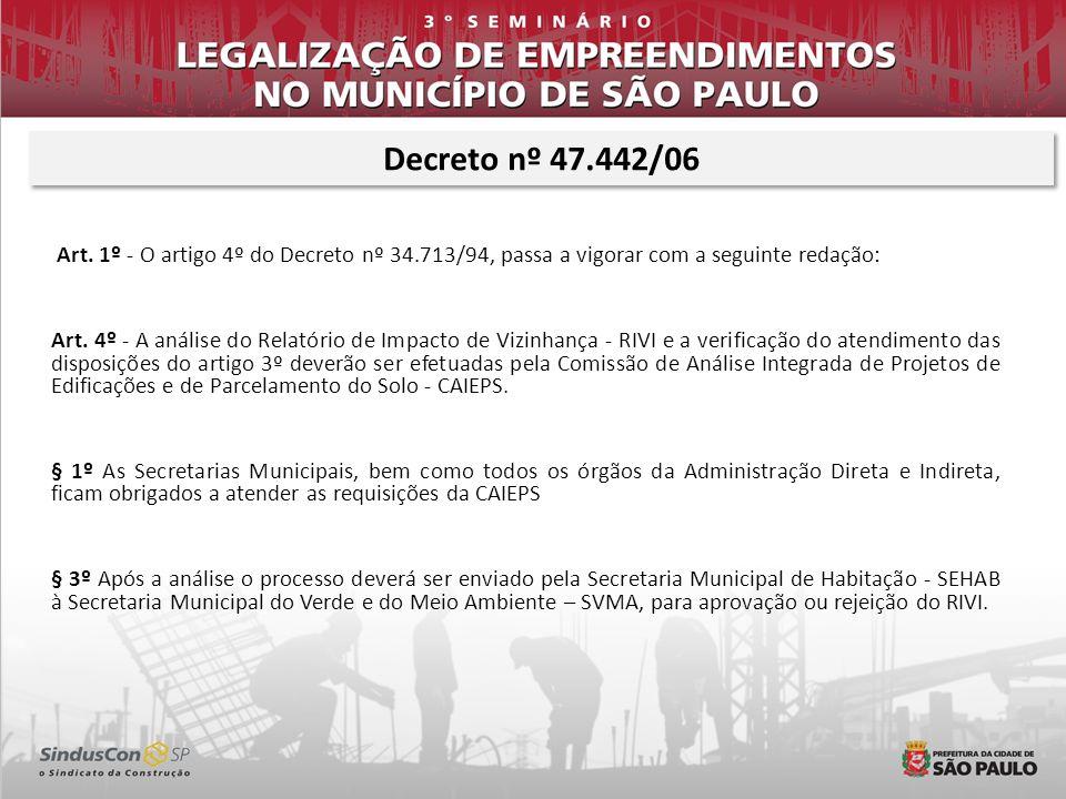 Art. 1º - O artigo 4º do Decreto nº 34.713/94, passa a vigorar com a seguinte redação: Art. 4º - A análise do Relatório de Impacto de Vizinhança - RIV