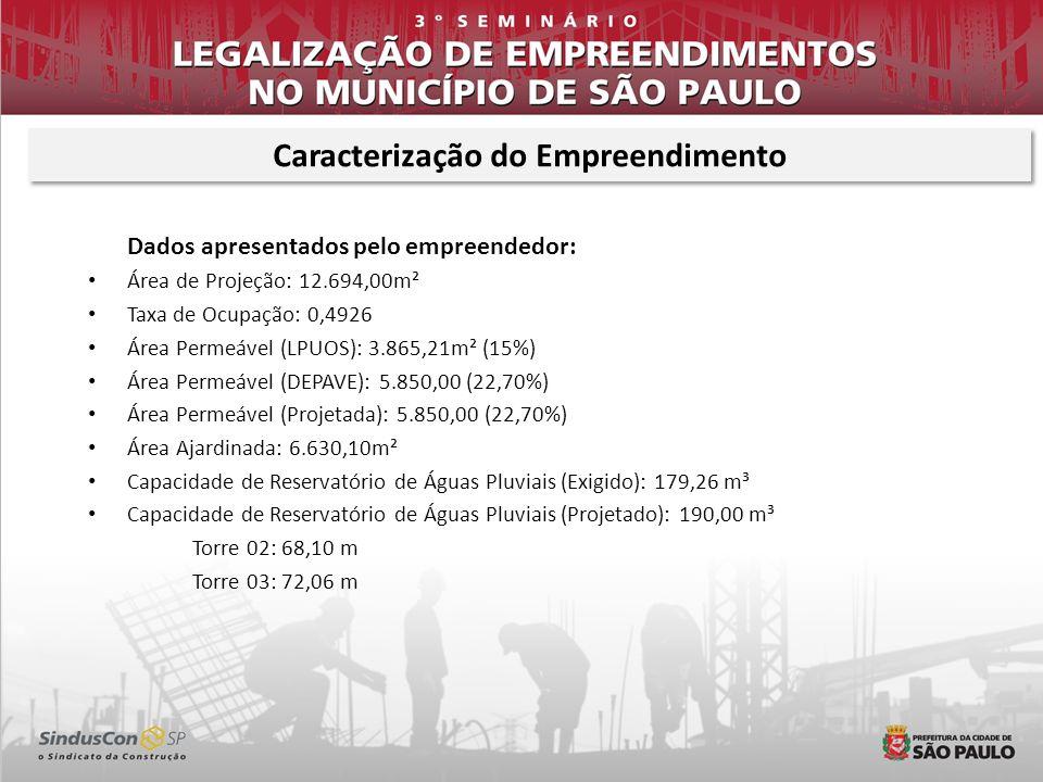 Dados apresentados pelo empreendedor: Área de Projeção: 12.694,00m² Taxa de Ocupação: 0,4926 Área Permeável (LPUOS): 3.865,21m² (15%) Área Permeável (
