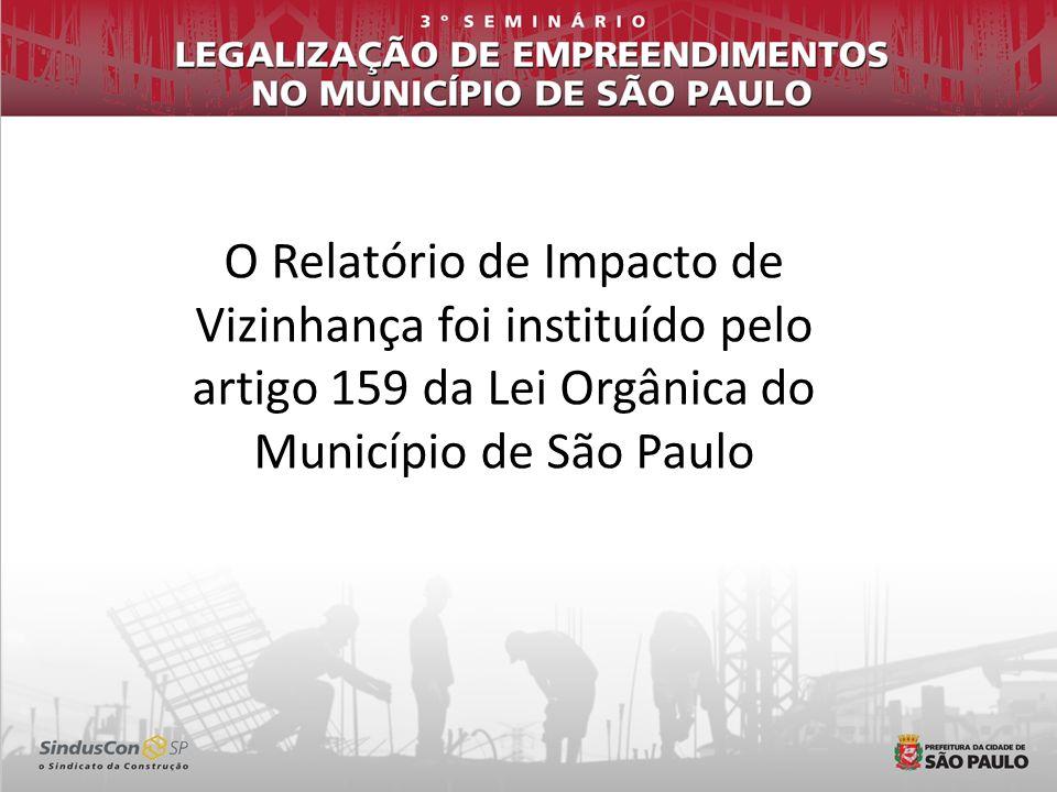O Relatório de Impacto de Vizinhança foi instituído pelo artigo 159 da Lei Orgânica do Município de São Paulo