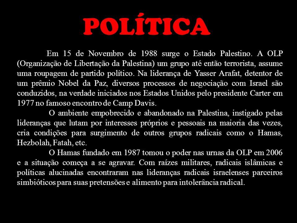 Em 15 de Novembro de 1988 surge o Estado Palestino. A OLP (Organiza ç ão de Liberta ç ão da Palestina) um grupo at é então terrorista, assume uma roup