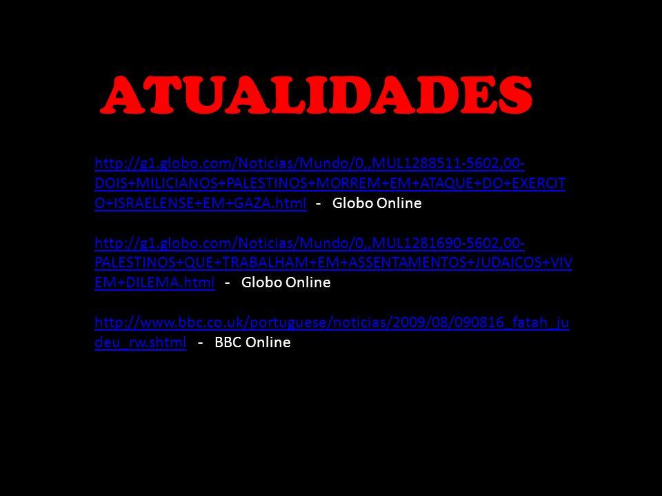 ATUALIDADES http://g1.globo.com/Noticias/Mundo/0,,MUL1288511-5602,00- DOIS+MILICIANOS+PALESTINOS+MORREM+EM+ATAQUE+DO+EXERCIT O+ISRAELENSE+EM+GAZA.html