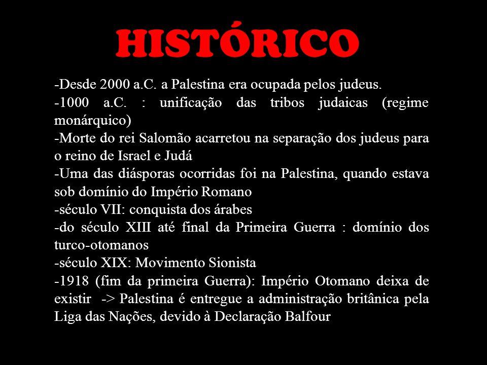 HISTÓRICO -Desde 2000 a.C. a Palestina era ocupada pelos judeus. -1000 a.C. : unificação das tribos judaicas (regime monárquico) -Morte do rei Salomão