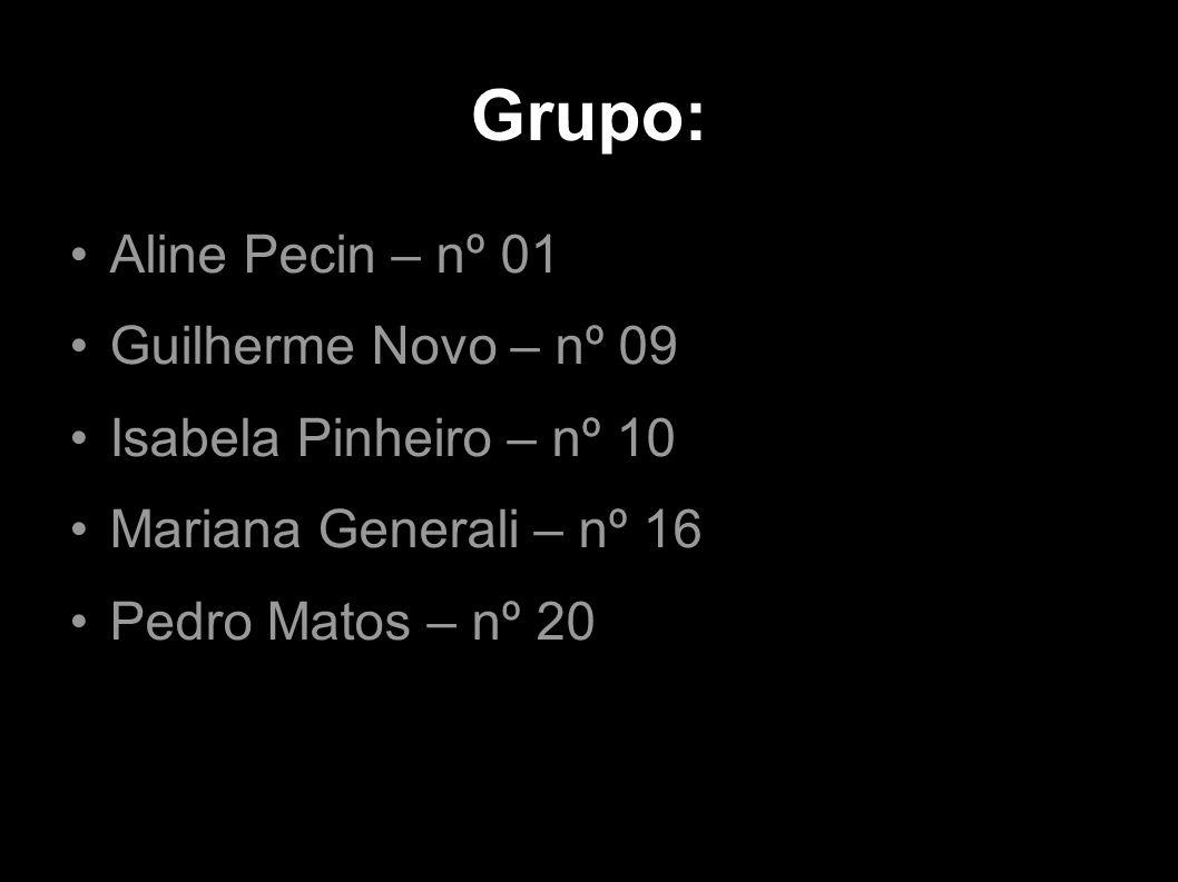 Grupo: Aline Pecin – nº 01 Guilherme Novo – nº 09 Isabela Pinheiro – nº 10 Mariana Generali – nº 16 Pedro Matos – nº 20