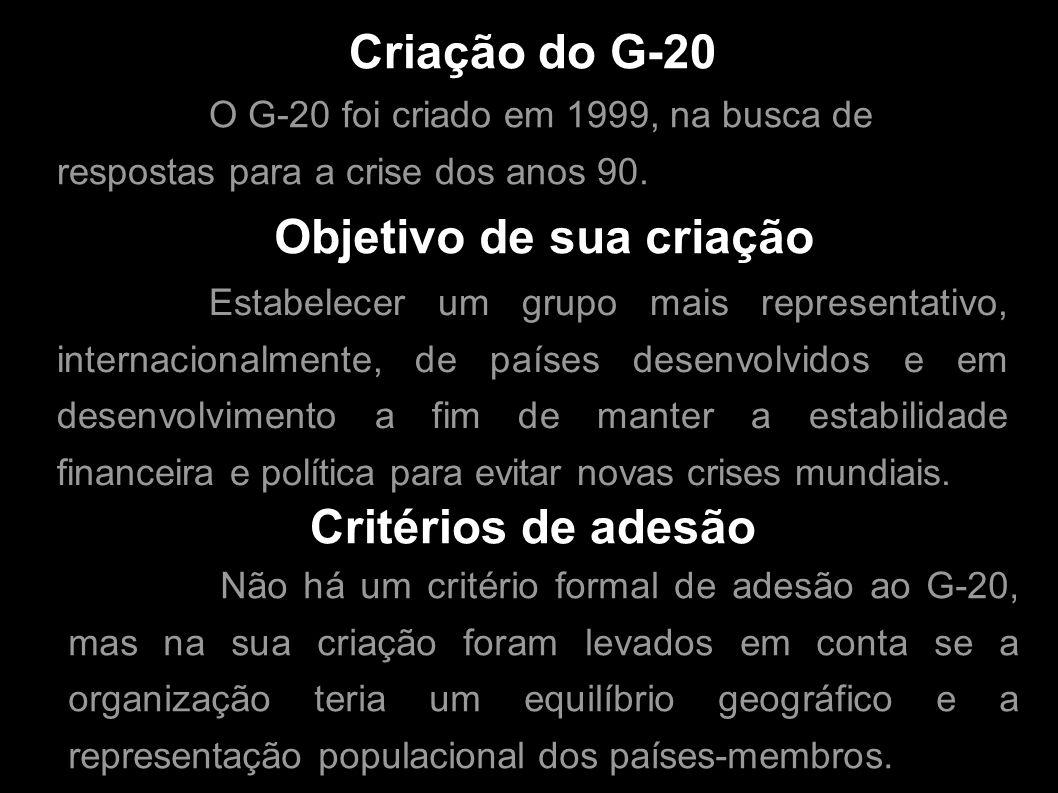 Criação do G-20 O G-20 foi criado em 1999, na busca de respostas para a crise dos anos 90. Objetivo de sua criação Estabelecer um grupo mais represent