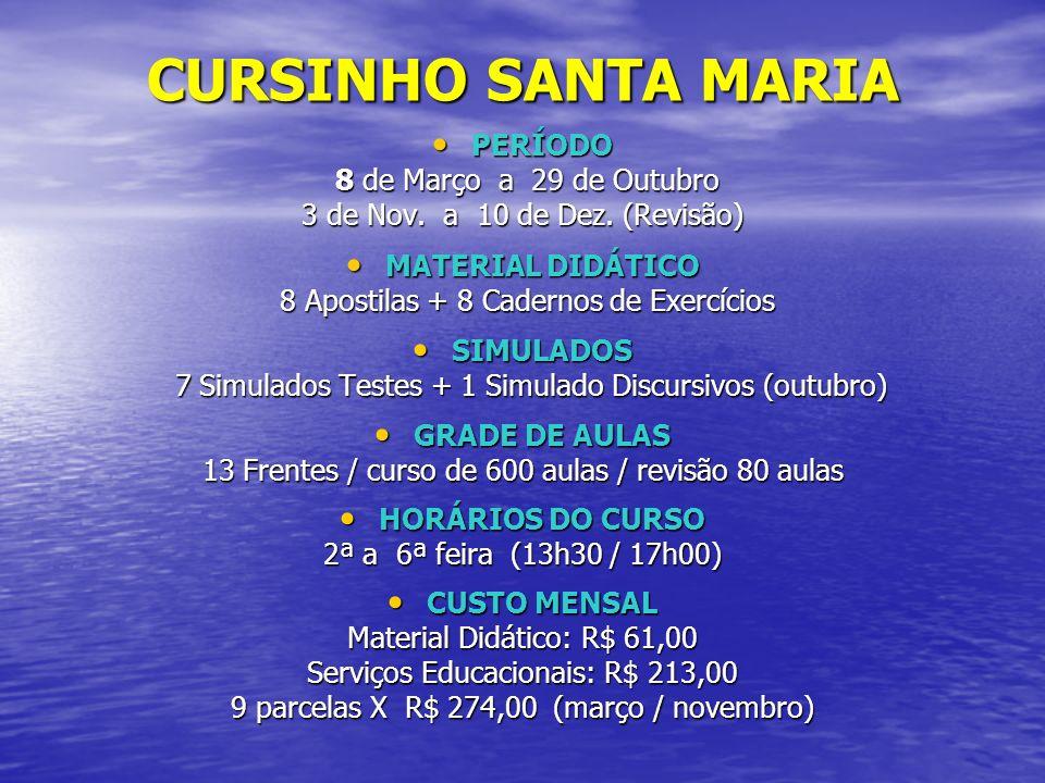 CURSINHO SANTA MARIA PERÍODO PERÍODO 8 de Março a 29 de Outubro 8 de Março a 29 de Outubro 3 de Nov. a 10 de Dez. (Revisão) MATERIAL DIDÁTICO MATERIAL