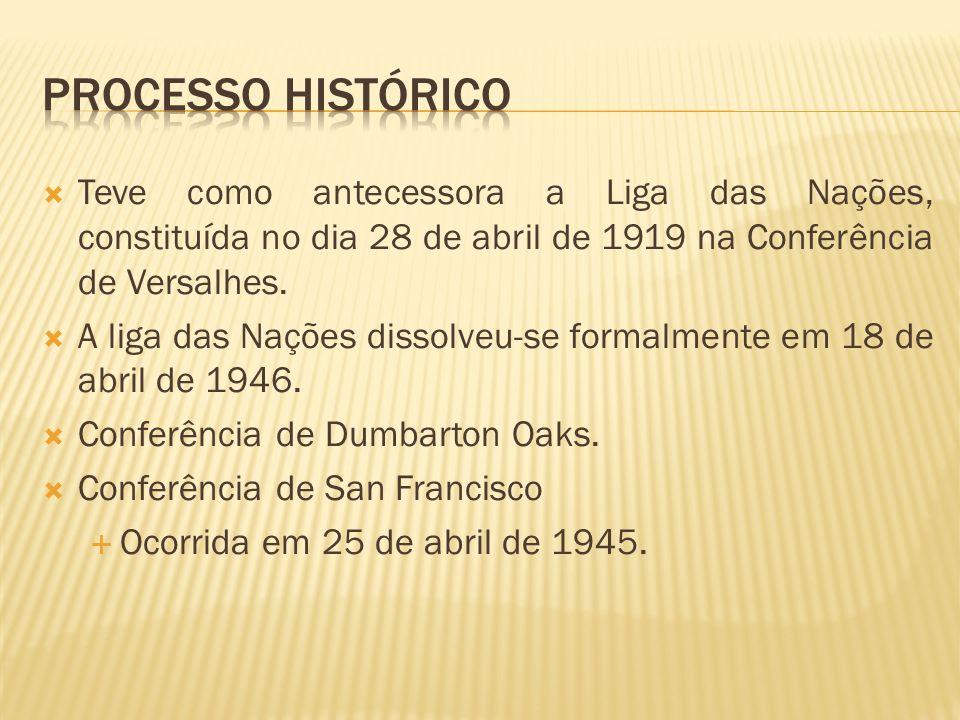 Teve como antecessora a Liga das Nações, constituída no dia 28 de abril de 1919 na Conferência de Versalhes. A liga das Nações dissolveu-se formalment