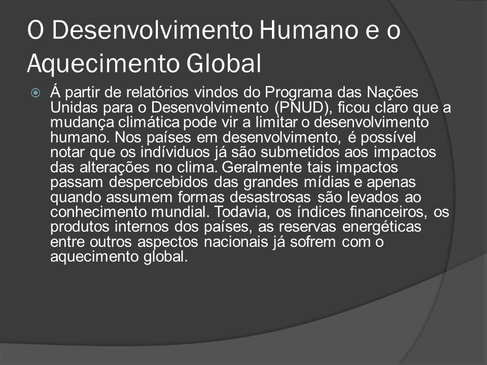O Desenvolvimento Humano e o Aquecimento Global Á partir de relatórios vindos do Programa das Nações Unidas para o Desenvolvimento (PNUD), ficou claro
