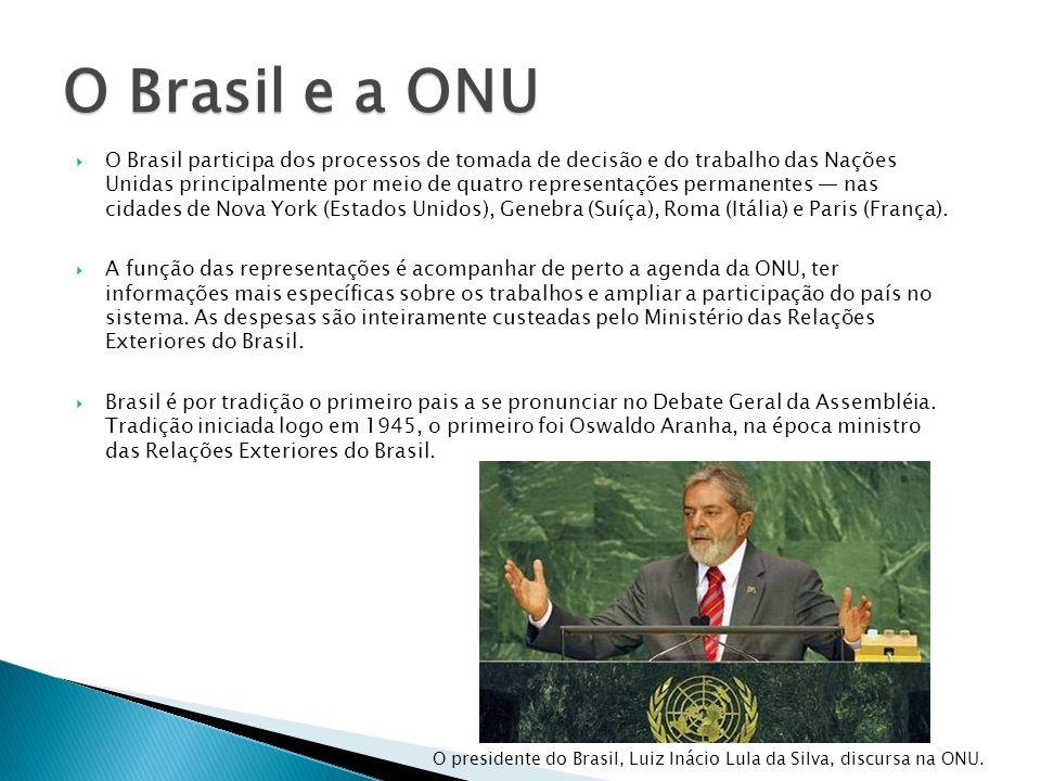 O Brasil participa dos processos de tomada de decisão e do trabalho das Nações Unidas principalmente por meio de quatro representações permanentes nas