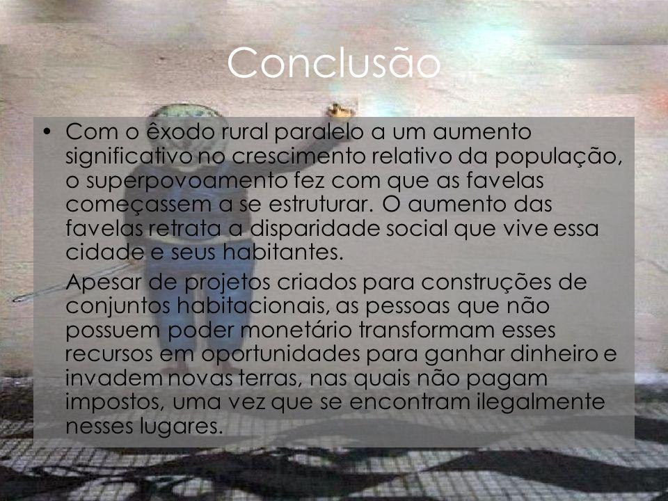 Conclusão Com o êxodo rural paralelo a um aumento significativo no crescimento relativo da população, o superpovoamento fez com que as favelas começas