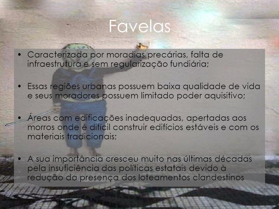 Favelas Caracterizada por moradias precárias, falta de infraestrutura e sem regularização fundiária; Essas regiões urbanas possuem baixa qualidade de