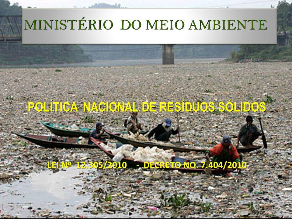 MINISTÉRIO DO MEIO AMBIENTE POLÍTICA NACIONAL DE RESÍDUOS SÓLIDOS LEI Nº 12.305/2010 - DECRETO NO. 7.404/20 LEI Nº 12.305/2010 - DECRETO NO. 7.404/201