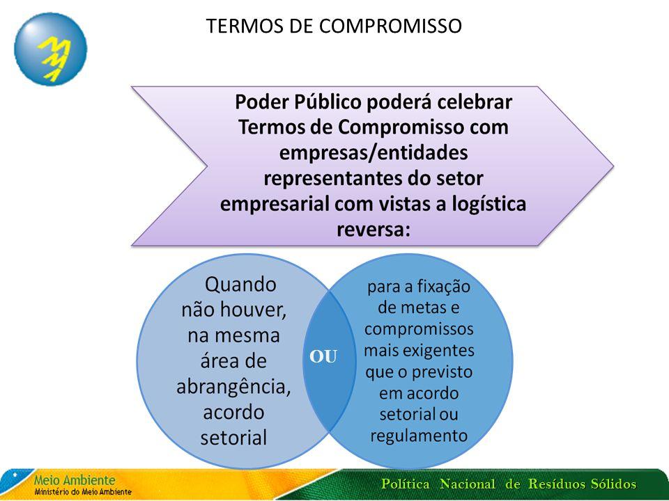 Política Nacional de Resíduos Sólidos TERMOS DE COMPROMISSO OU