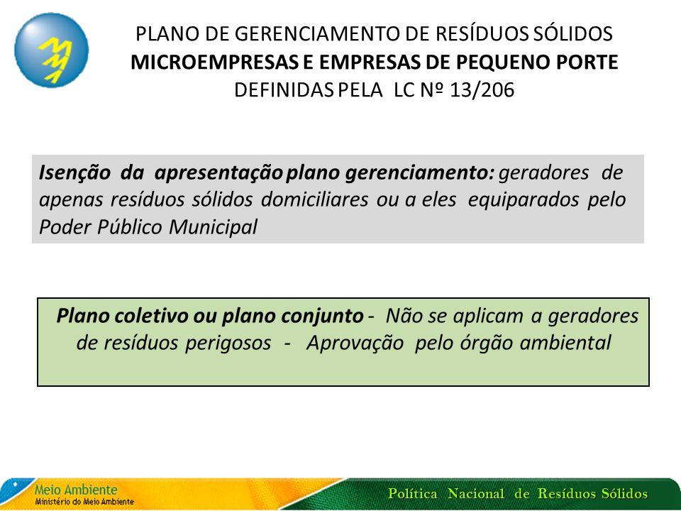 Política Nacional de Resíduos Sólidos Plano coletivo ou plano conjunto - Não se aplicam a geradores de resíduos perigosos - Aprovação pelo órgão ambie