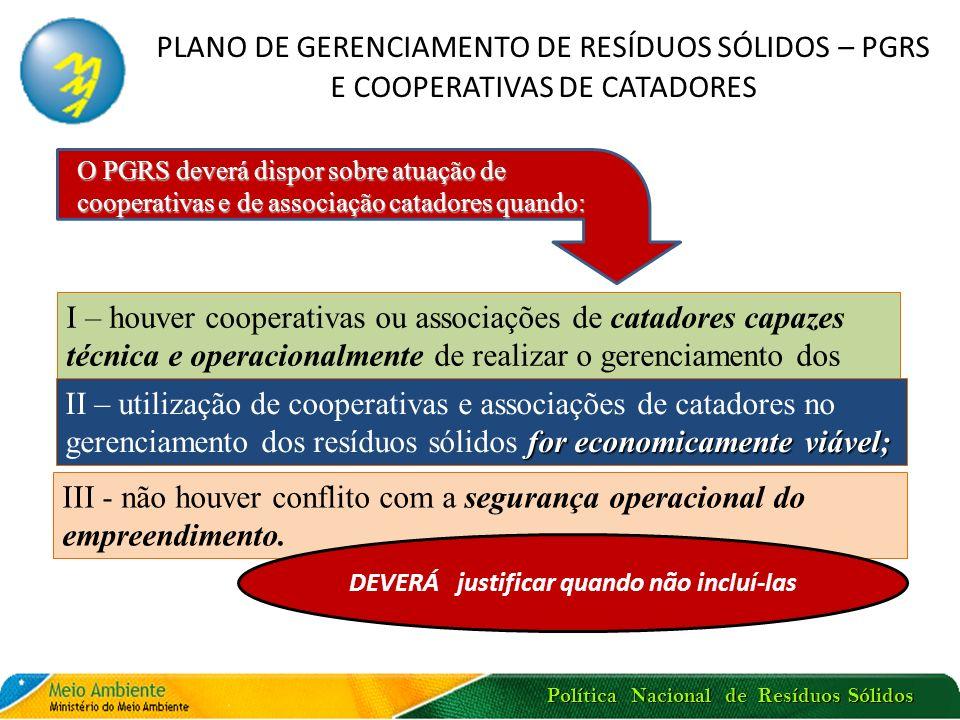 Política Nacional de Resíduos Sólidos PLANO DE GERENCIAMENTO DE RESÍDUOS SÓLIDOS RESÍDUOS PERIGOSOS E A OBRIGAÇÃO DE CADASTRAMENTO Cadastro Nacional de Operadores de Resíduos Perigosos (coordenado pelo IBAMA e integrado ao Cadastro Técnico Federal) Indicação de Responsável Técnico habilitado para o gerenciamento de resíduos perigosos – dados mantidos no Cadastro