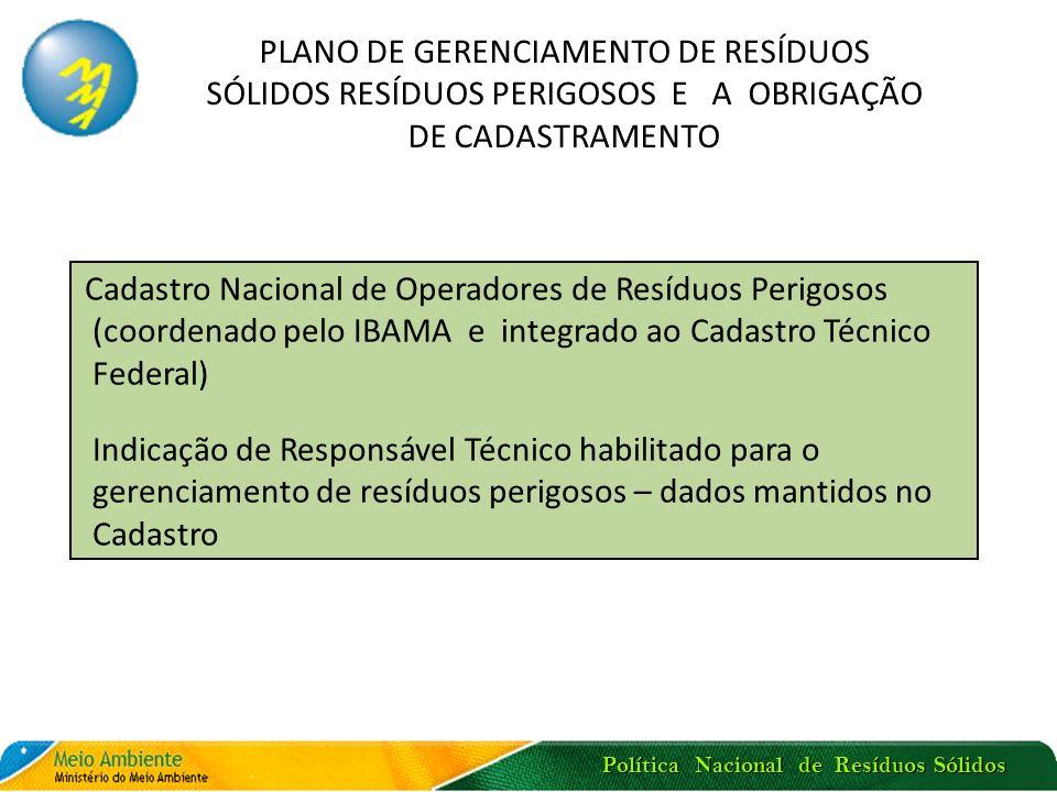 Política Nacional de Resíduos Sólidos PLANO DE GERENCIAMENTO DE RESÍDUOS SÓLIDOS RESÍDUOS PERIGOSOS E A OBRIGAÇÃO DE CADASTRAMENTO Cadastro Nacional d