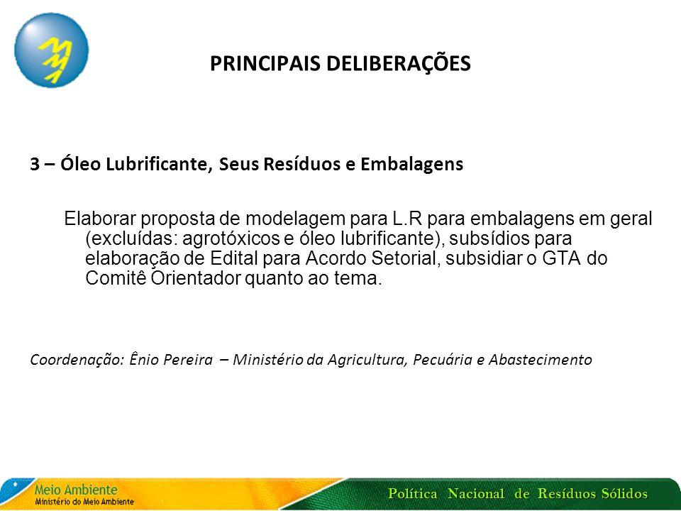 Política Nacional de Resíduos Sólidos PRINCIPAIS DELIBERAÇÕES 3 – Óleo Lubrificante, Seus Resíduos e Embalagens Elaborar proposta de modelagem para L.
