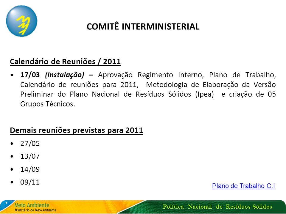 Política Nacional de Resíduos Sólidos COMITÊ INTERMINISTERIAL Calendário de Reuniões / 2011 17/03 (Instalação) – Aprovação Regimento Interno, Plano de
