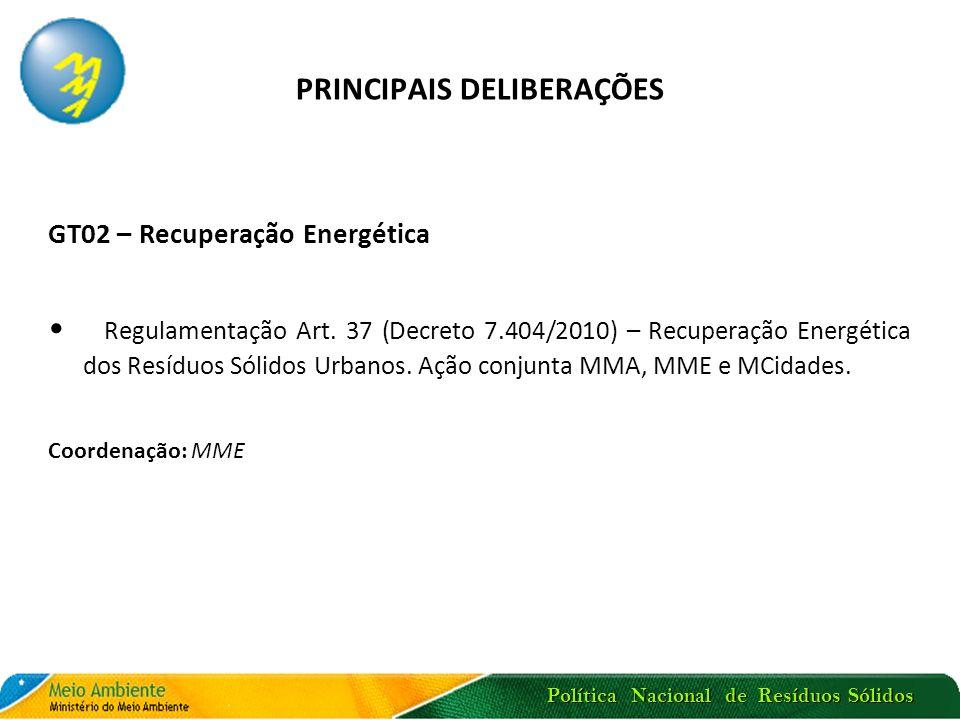 Política Nacional de Resíduos Sólidos PRINCIPAIS DELIBERAÇÕES GT02 – Recuperação Energética Regulamentação Art. 37 (Decreto 7.404/2010) – Recuperação