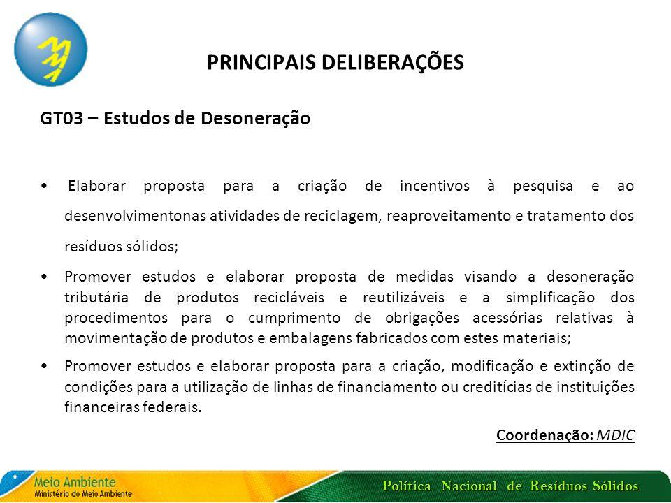 Política Nacional de Resíduos Sólidos PRINCIPAIS DELIBERAÇÕES GT03 – Estudos de Desoneração Elaborar proposta para a criação de incentivos à pesquisa