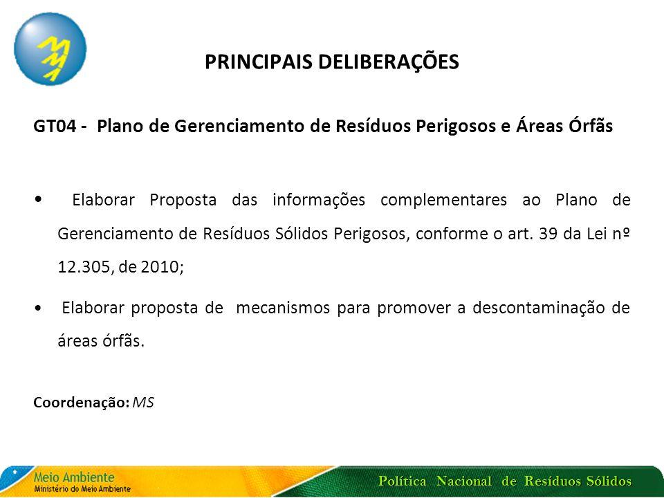 Política Nacional de Resíduos Sólidos PRINCIPAIS DELIBERAÇÕES GT04 - Plano de Gerenciamento de Resíduos Perigosos e Áreas Órfãs Elaborar Proposta das