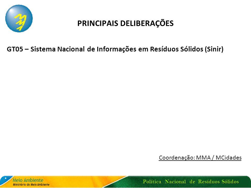 Política Nacional de Resíduos Sólidos PRINCIPAIS DELIBERAÇÕES GT05 – Sistema Nacional de Informações em Resíduos Sólidos (Sinir) Coordenação: MMA / MC