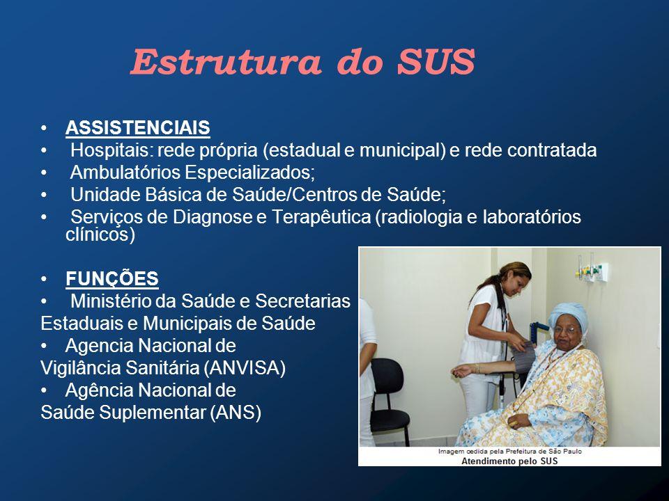 Estrutura do SUS ASSISTENCIAIS Hospitais: rede própria (estadual e municipal) e rede contratada Ambulatórios Especializados; Unidade Básica de Saúde/C