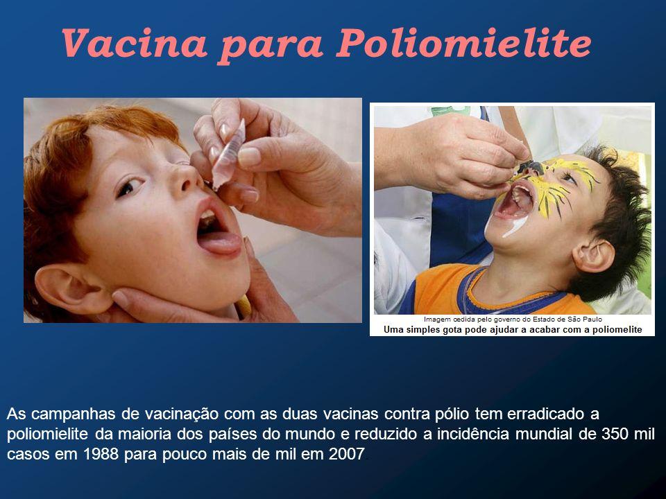 Vacina para Poliomielite As campanhas de vacinação com as duas vacinas contra pólio tem erradicado a poliomielite da maioria dos países do mundo e red