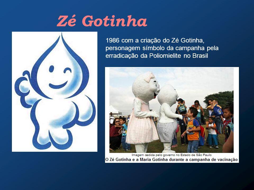 1986 com a criação do Zé Gotinha, personagem símbolo da campanha pela erradicação da Poliomielite no Brasil Zé Gotinha