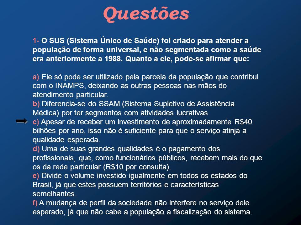 Questões 1- O SUS (Sistema Único de Saúde) foi criado para atender a população de forma universal, e não segmentada como a saúde era anteriormente a 1