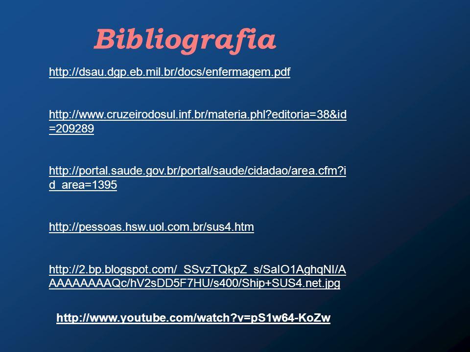 http://dsau.dgp.eb.mil.br/docs/enfermagem.pdf http://www.cruzeirodosul.inf.br/materia.phl?editoria=38&id =209289 http://portal.saude.gov.br/portal/sau