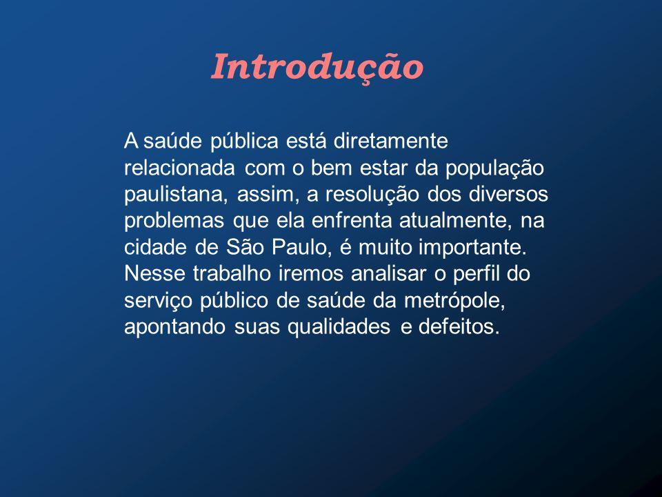 Introdução A saúde pública está diretamente relacionada com o bem estar da população paulistana, assim, a resolução dos diversos problemas que ela enf