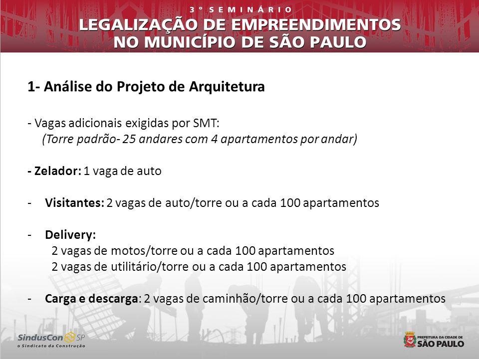 1- Análise do Projeto de Arquitetura - Vagas adicionais exigidas por SMT: (Torre padrão- 25 andares com 4 apartamentos por andar) - Zelador: 1 vaga de