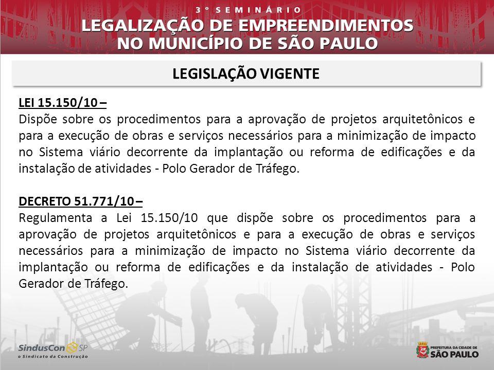 LEGISLAÇÃO VIGENTE LEI 15.150/10 – Dispõe sobre os procedimentos para a aprovação de projetos arquitetônicos e para a execução de obras e serviços nec