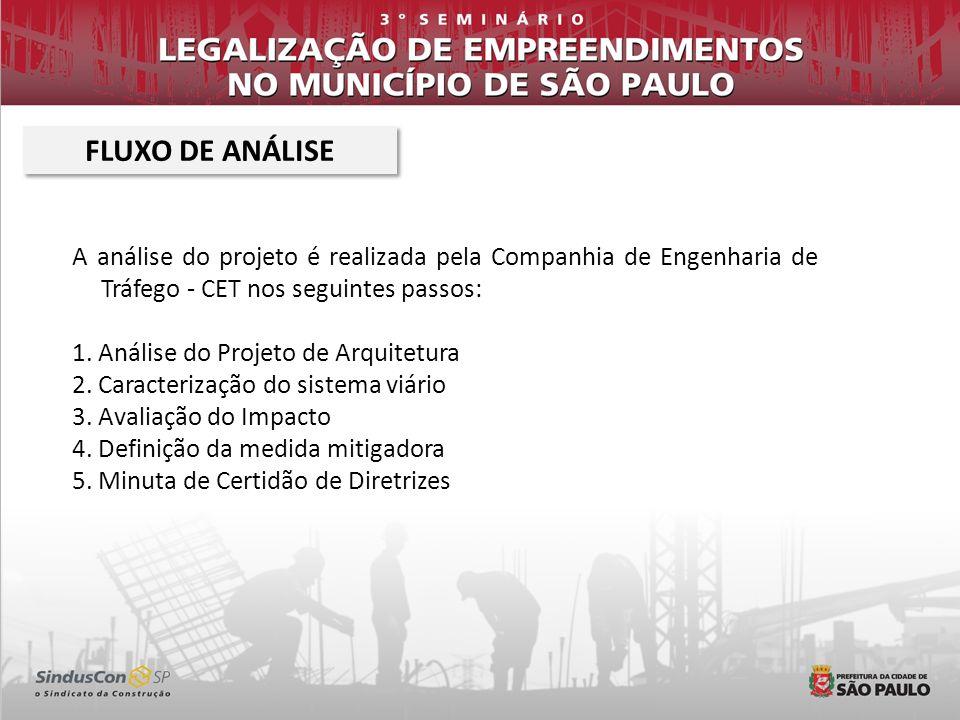 A análise do projeto é realizada pela Companhia de Engenharia de Tráfego - CET nos seguintes passos: 1. Análise do Projeto de Arquitetura 2. Caracteri