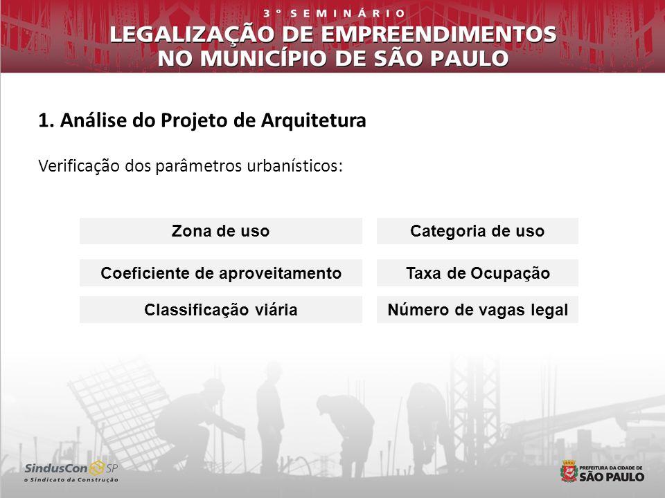 1. Análise do Projeto de Arquitetura Verificação dos parâmetros urbanísticos: Zona de usoCategoria de uso Coeficiente de aproveitamentoTaxa de Ocupaçã