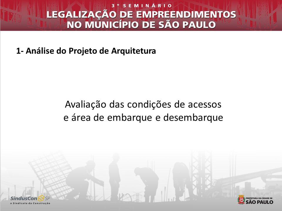 1- Análise do Projeto de Arquitetura Avaliação das condições de acessos e área de embarque e desembarque