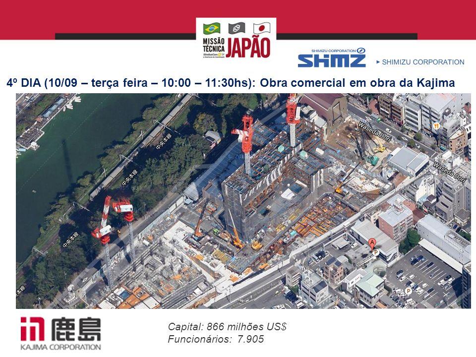 Capital: 866 milhões US$ Funcionários: 7.905 4º DIA (10/09 – terça feira – 10:00 – 11:30hs): Obra comercial em obra da Kajima