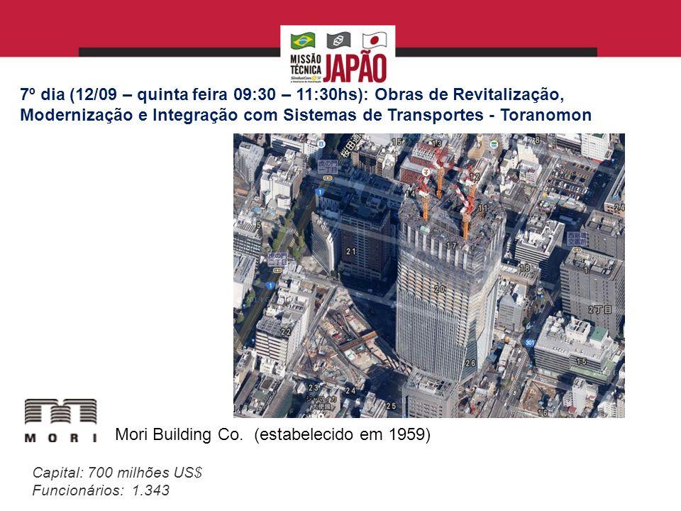 7º dia (12/09 – quinta feira 09:30 – 11:30hs): Obras de Revitalização, Modernização e Integração com Sistemas de Transportes - Toranomon Mori Building Co.