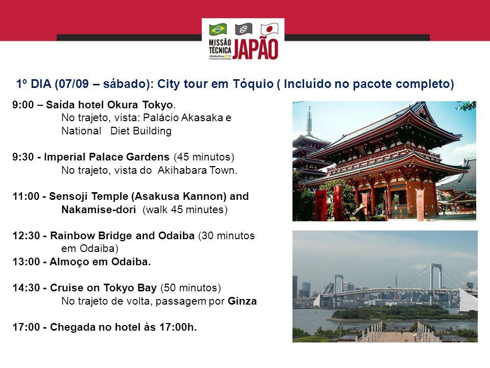 8º dia (14/09 – sábado): LIVRE até a saída do hotel para embarque de volta Descanso Visita ao Museu de Edo Tokyo Últimas Compras em Akihabara BOA VIAGEM!