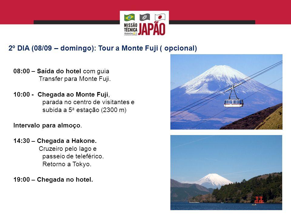 3º DIA (09/09 – segunda feira – 10:00 – 12:00): Embaixada do Brasil em Tóquio Projeto Ruy Ohtake Visita de cortesia da Missão que será recebido pelo Embaixador e que apresentará panorama das relações bilaterais entre Brasil e Japão.
