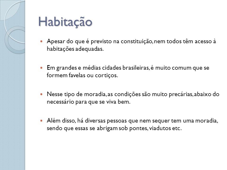 Habitação Apesar do que é previsto na constituição, nem todos têm acesso à habitações adequadas. Em grandes e médias cidades brasileiras, é muito comu
