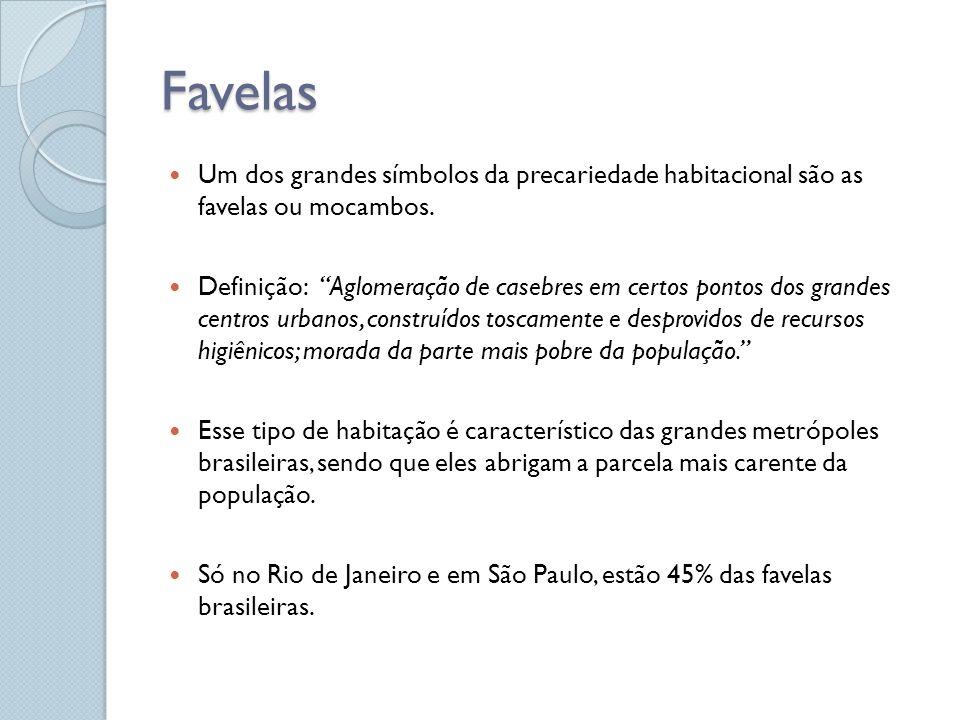 Favelas Um dos grandes símbolos da precariedade habitacional são as favelas ou mocambos. Definição: Aglomeração de casebres em certos pontos dos grand