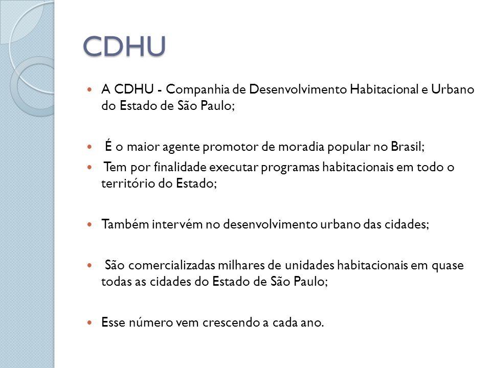 CDHU A CDHU - Companhia de Desenvolvimento Habitacional e Urbano do Estado de São Paulo; É o maior agente promotor de moradia popular no Brasil; Tem p