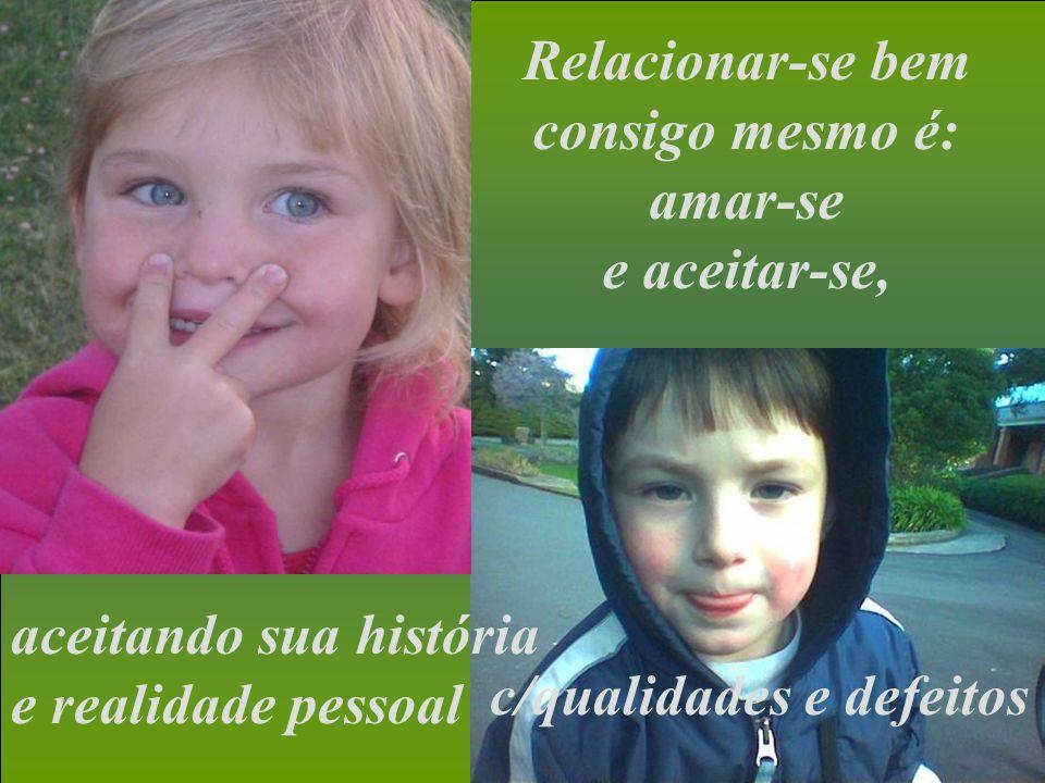 Auto estima envolve inteligência, bondade e vontade, e é ela que leva a pessoa a relacionamentos positivos...