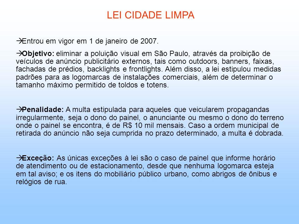 LEI CIDADE LIMPA Entrou em vigor em 1 de janeiro de 2007. Objetivo: eliminar a poluição visual em São Paulo, através da proibição de veículos de anúnc