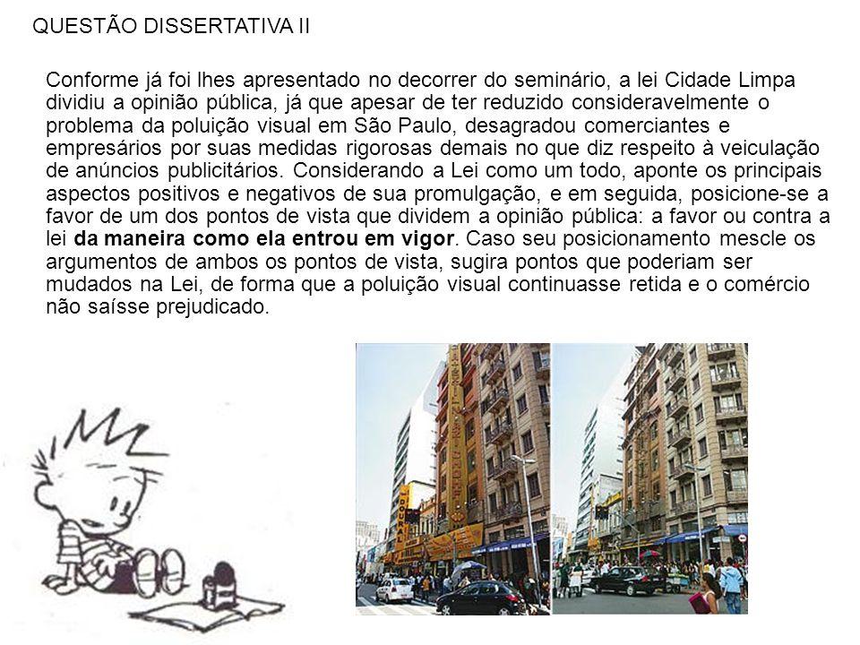 QUESTÃO DISSERTATIVA II Conforme já foi lhes apresentado no decorrer do seminário, a lei Cidade Limpa dividiu a opinião pública, já que apesar de ter