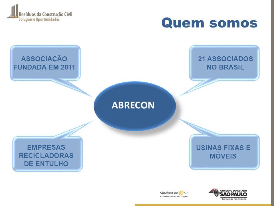 ABRECON ASSOCIAÇÃO FUNDADA EM 2011 21 ASSOCIADOS NO BRASIL EMPRESAS RECICLADORAS DE ENTULHO USINAS FIXAS E MÓVEIS Quem somos
