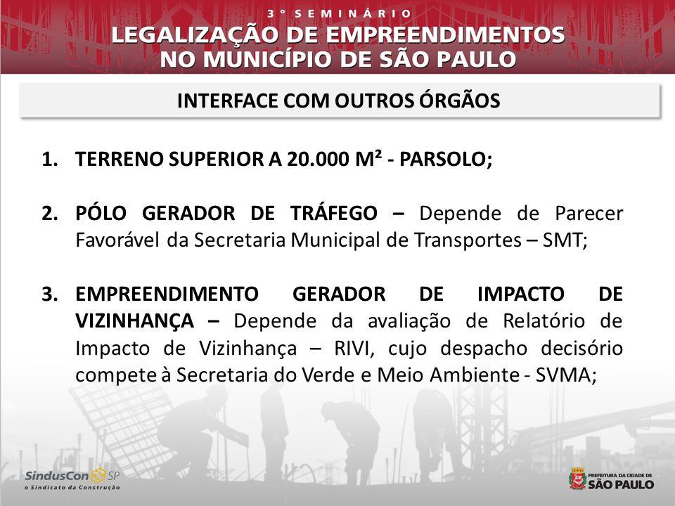 INTERFACE COM OUTROS ÓRGÃOS 1.TERRENO SUPERIOR A 20.000 M² - PARSOLO; 2.PÓLO GERADOR DE TRÁFEGO – Depende de Parecer Favorável da Secretaria Municipal