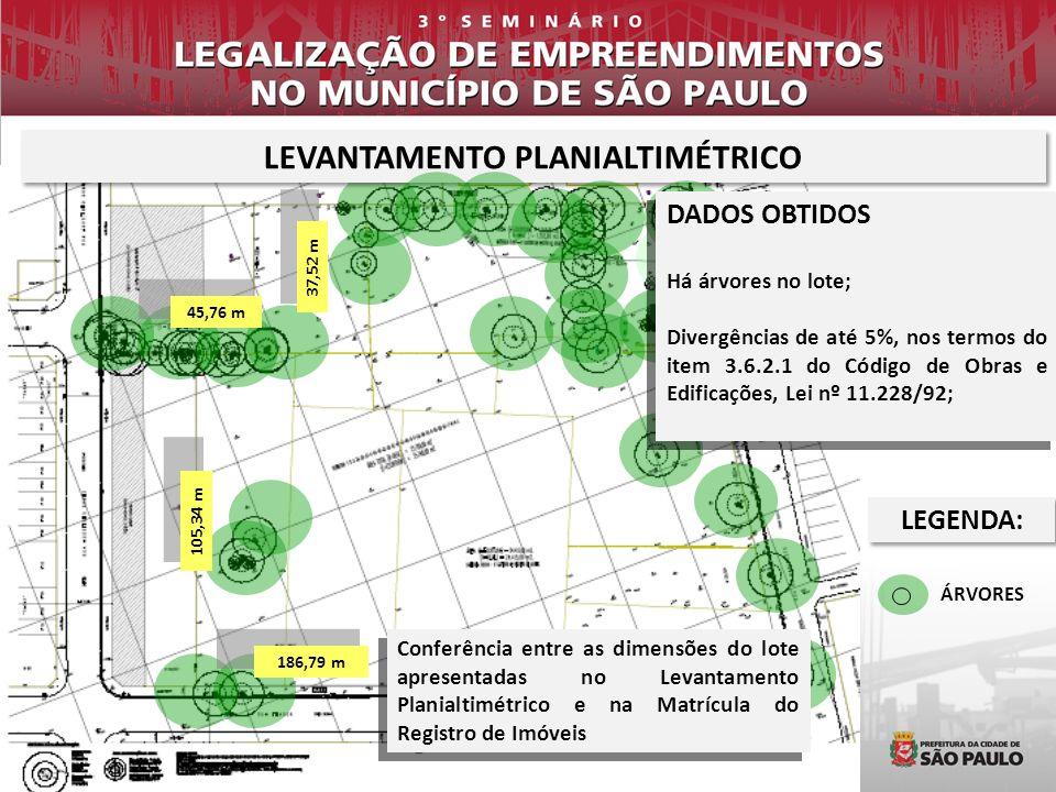 LEVANTAMENTO PLANIALTIMÉTRICO ÁRVORES DADOS OBTIDOS Há árvores no lote; Divergências de até 5%, nos termos do item 3.6.2.1 do Código de Obras e Edific