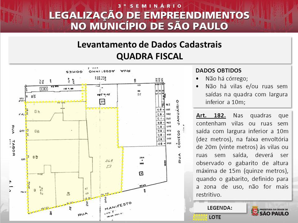 LEVANTAMENTO DE DADOS CADASTRAIS QUADRA FISCAL Levantamento de Dados Cadastrais QUADRA FISCAL Levantamento de Dados Cadastrais QUADRA FISCAL DADOS OBT